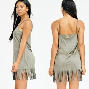 Makers of Dreams fringed suede mini dress olive